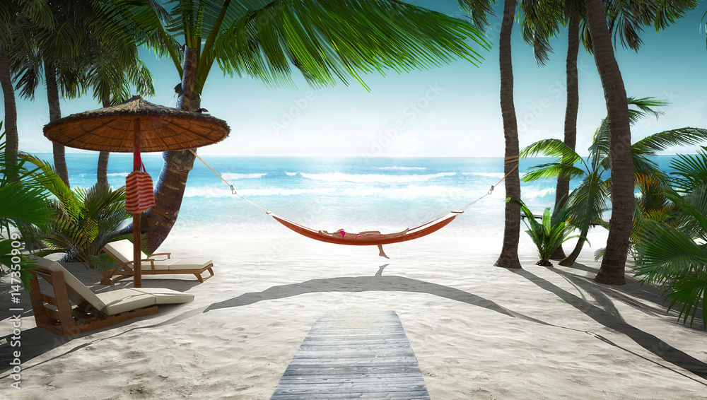 Fototapety, obrazy: Tropical scenery with hammock