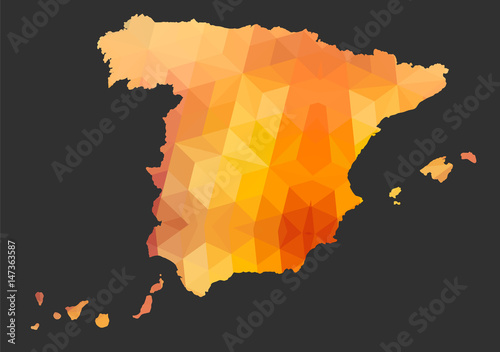Canvas Print The Spanish Map of Polygonal Style