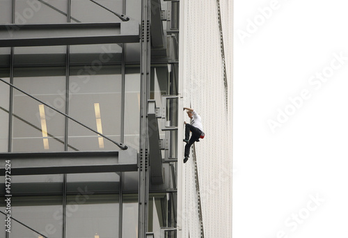 French Climber Alain Robert Also Known As Spiderman Climbs