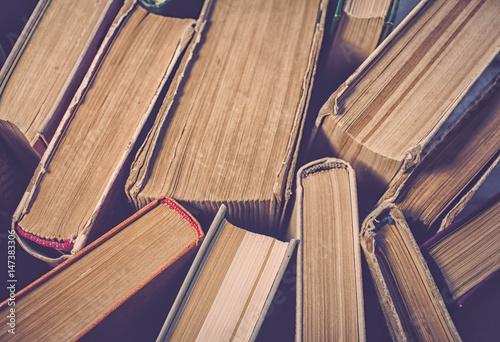 Fototapeta Old books. Top view. Vintage toning. Selective focus obraz na płótnie