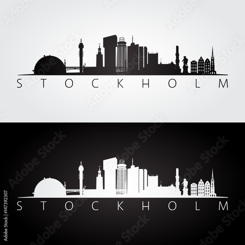 Photo  Stockholm skyline and landmarks silhouette, black and white design