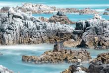 Rocky Shore At Asilomar State Beach. Monterey Peninsula, California, USA.