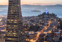Dusk Over Telegraph Hill, Alcatraz Island And San Francisco Bay From The Financial District. San Francisco, California, USA.