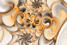 Abstract Gems On Black Background. Fantasy Fractal Texture In Orange, Brown And Grey Colors. Digital Art. 3D Rendering.