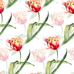 Panel Szklany Tulipany Seamless pattern with Tulips flowers