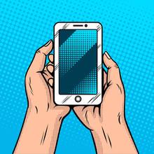 Smart Phone In Hands Comic Book Style Vector