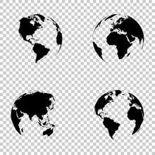 Set 3d Earth Globe On Isolated...