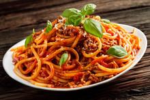 Heaped Plate Of Italian Spaghetti Bolognaise