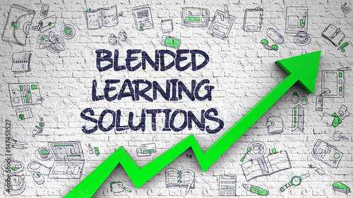 Blended Learning Solutions Modern Illustration With Hand