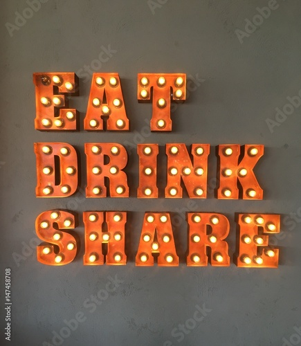 Eat and Drink neon sign for cafes and restaurants - Buy this