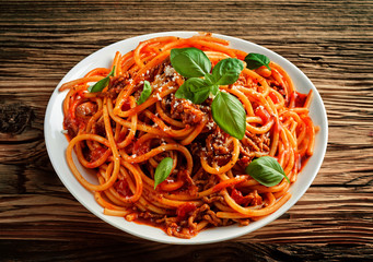Traditional Italian spaghetti in tomato sauce