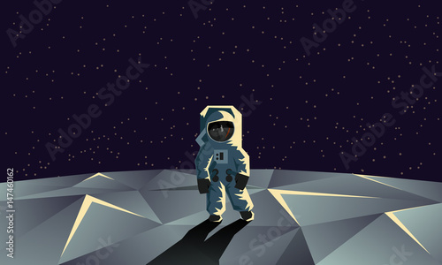Fotografia Astronaut on the polygonal moon surface