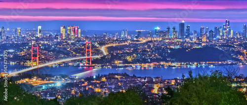 Canvas Print Panoramic view of Istanbul with the Bosphorus Bridge