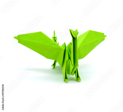 Poster Geometric animals Photo of origami green dragon isolated on white background