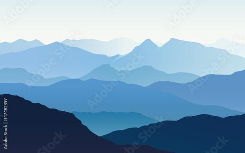 Fototapeta Landscape with blue silhouettes of mountains and light blue sky - vector illustration obraz na płótnie