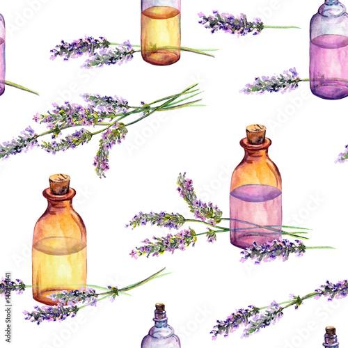 kwiaty-lawendy-butelki-perfum-olejnych-wzor-na-kosmetyki-perfumy-projektowanie-urody-vintage-akwarela