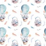 Cute baby królik zwierząt wzór, ilustracja lasów dla dzieci odzież. Akwarela leśna Ręcznie rysowane zdjęcie boho do projektowania pudełek, plakatów przedszkolnych - 147498729
