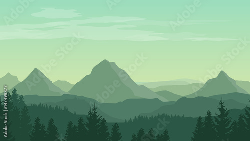 Fototapeta Landscape with green silhouettes of mountains, hills and forest and clouds in the sky - vector illustration