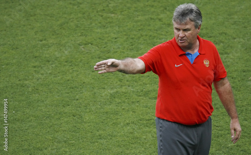 Russias Head Soccer Coach Hiddink Gestures During A Euro 2008 Training Session In Ernst Happel Stadium