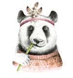 Watercolor panda illustration. Bohemian cute animal. Boho style. Nursary art print. Feathers collection - 147500180