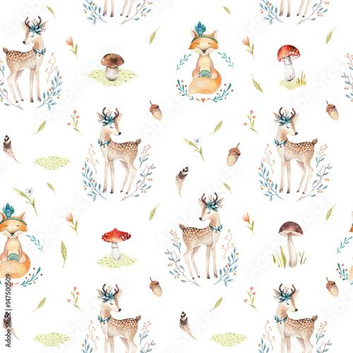 sliczni-dziecko-lisy-i-jeleni-zwierzecy-bezszwowy-wzor-odizolowywali-ilustracje-dla-dzieci-odziewac-akwarela-recznie-rysowany