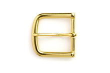 Brass Buckle Isolated On White...