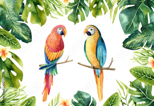 Deurstickers Papegaai Hand drawn watercolor tropical plants set and parrot. Exotic palm leaves, jungle tree, brazil tropic borany elements and parrots. Perfect for fabric design. Aloha art.
