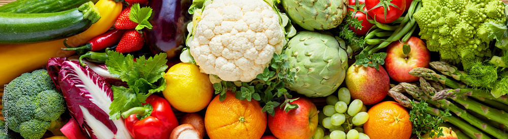Fototapety, obrazy: Panoramic wide organic food background