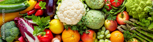Panoramic wide organic food background