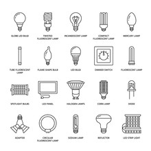 Light Bulbs Flat Line Icons. L...