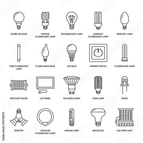 Photo  Light bulbs flat line icons