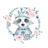 Watercolor boho floral wreath with raccoon. Watercolour bohemian natural frame: leaves, feathers, flowers,  Isolated on white background.  Save the date, weddign design,valentine's day - 147520134