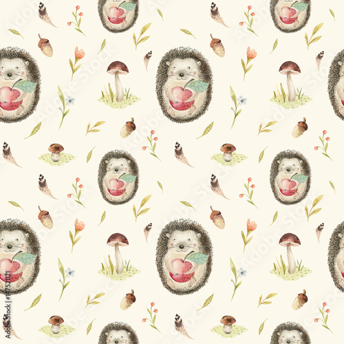 Cotton fabric  Cute baby hedgehog animal seamless pattern for kindergarten, nu