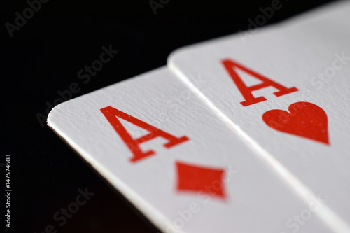 Photo Pair of aces on the table.