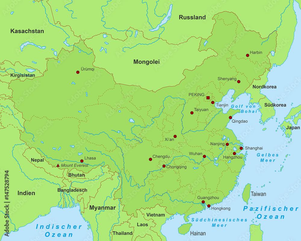 Karte China Hong Kong.Photo Art Print China Karte Grün Europosters
