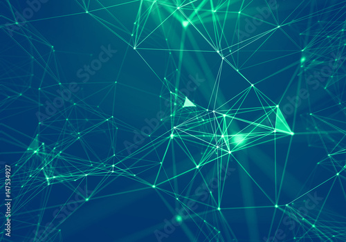 In de dag Fractal waves Abstract Blue Geometrical Background . Connection structure. Science background. Futuristic Technology HUD Element . onnecting dots and lines . Big data visualization and Business .
