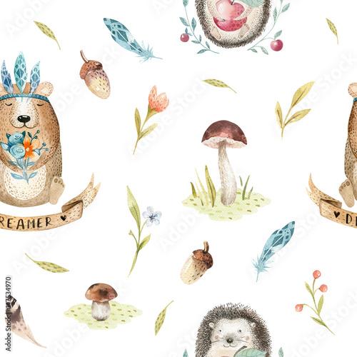 Cute Baby Hedgehog And Bear Animal Seamless Pattern Nursery