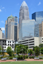 Bank Of America Corporate Center Building And Downtown Charlotte Is The Largest City In The State Of North Carolina. It Is The County Seat Of Mecklenburg County