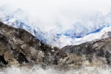 Fototapeta Abstract mountain range in monotone