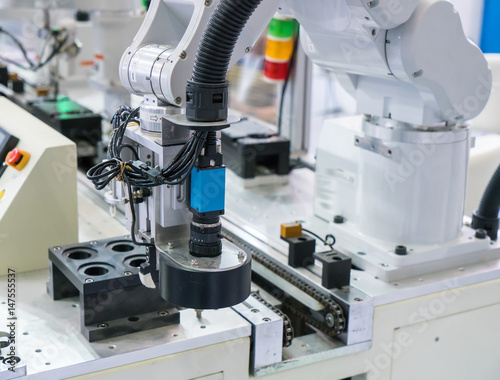 Staande foto Industrial geb. robot arm with Visual measuring system,Smart factory industry 4.0 concept.