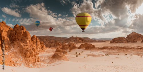 Recess Fitting Balloon Hot Air Balloon travel over desert