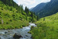 Stream Flowing Through Zillertal Alps Of Tirol (austria)