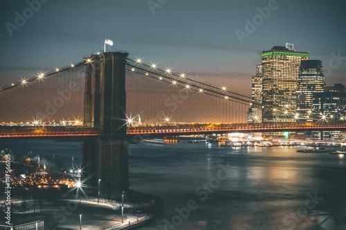 Printed kitchen splashbacks Brooklyn Bridge Brooklyn Bridge by Night - New York