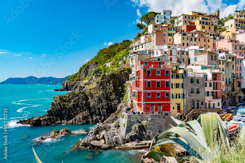 Tuinposter Liguria View of the colorful city of Riomaggiore in the gulf of the five lands in Italy