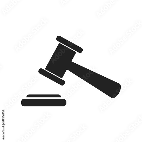 Auction hammer vector icon. Court tribunal flat icon. Wallpaper Mural