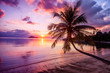 canvas print picture - Beautiful bright sunset on a tropical paradise beach
