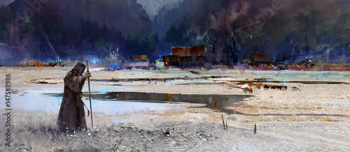 Aluminium Prints Old abandoned buildings Painted traveler monk in the background of a mountain landscape with a village