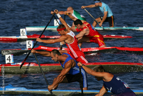 Olympic men canoe teams Uruguay, Greece, Canada, Spain