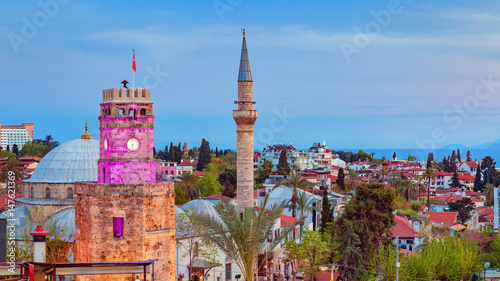 Fotografia  Aerial view of Clock Tower in Antalya, Turkey