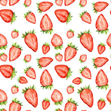 Watercolor Seamless Pattern With Strawberry Slices Isolated On White. Berries Repeating Background.